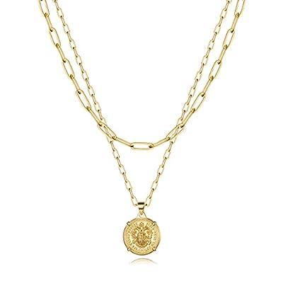 Turandoss Gold Link Choker Necklaces for Women - 14K Gold Coin Chain Set Link Chain Necklace Set Link Chain Thick Layering Neckacles for Women