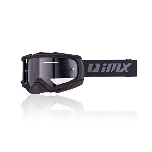 iMX Gafas DUST | Ahumado oscuro + visera transparente | Lente antivaho y antirrayas | Protección de nariz | Espuma de tres capas | Juego de dos viseras | Motocross Enduro MTB Downhill MX, negro matt