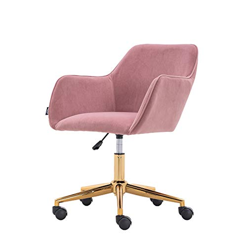 Morden Crush Velvet Home Office Chair Task with Gold Metal Legs and Black Wheels Pink
