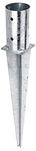 Gartenwelt Riegelsberger Douille inférieure d'impact pour poteaux Manchon moulu Manchon d'impact Post Supports Impact Bas de Manche Fixez Les Ancres galvanisé 81x600 mm
