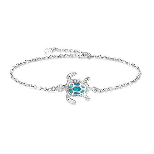 Blue Opal Sea Turtle Bracelet Sterling Silver Bracelets Jewelry For Women Gifts