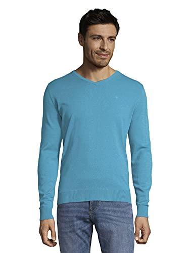 Tom Tailor 1012820 Basic V-Neck Suter Pulver, 26255 Aqua Sea Blue Melangé-Juego de Mesa de Mezcla, Color Azul, M para Hombre