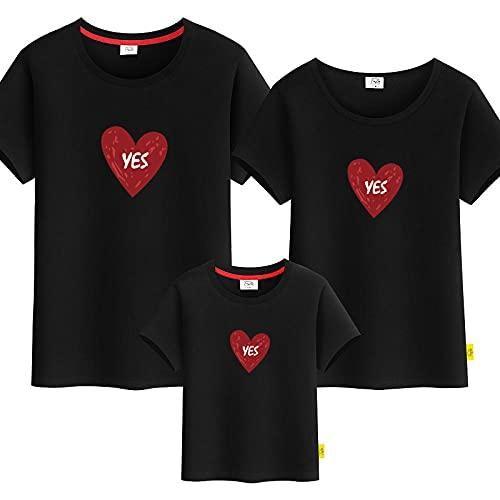 SANDA Madre E Hija,Padre-niño Amor, Camiseta de Manga Corta, Madre Femenina, una Familia de Tres o Cuatro-Negro_Papá 3XL