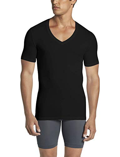 Tommy John Men's Cool Cotton Deep V-Neck Shirt - 3 Pack - Stay Tuck Design - Soft Comfortable T-Shirt Undershirt (Black, Large)