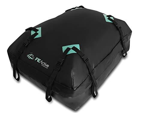 FE Active Porta Bagagli Tetto Auto - Portapacchi Auto 100% Impermeabile 424 Litri Box Tetto Auto Deluxe Baule per Auto Portatutto Cinghie Larghe, Viaggi su Strada, Campeggio | Disegnato in California