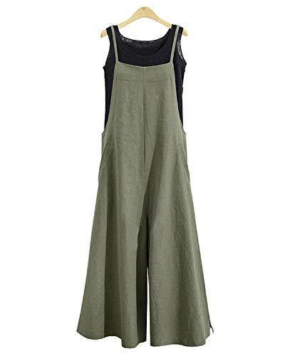 Celmia Womens Casual Bib Baggy Overalls Jumpsuit Pants Loose Cotton Romper Green02 3X-Large