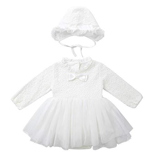 iixpin Baby Mädchen Kleid Strampler Tutukleid Langarm Prinzessin Spitzenkleid mit Hut Neugeborene Baby Kleidng für Geburtstag Party Taufe Elfenbein 62-68/3-6 Monate