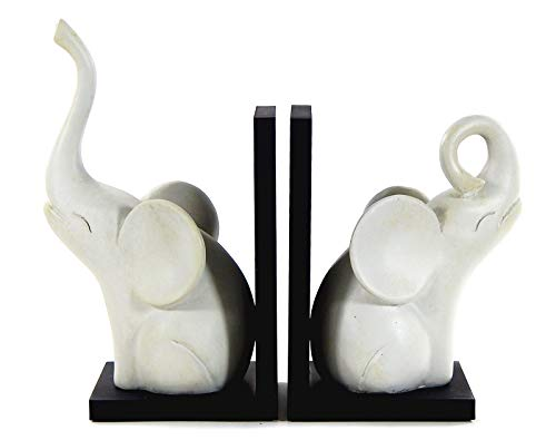 Bellaa 23057 Abstract Elephant Bookends Triumphant 9 Inch