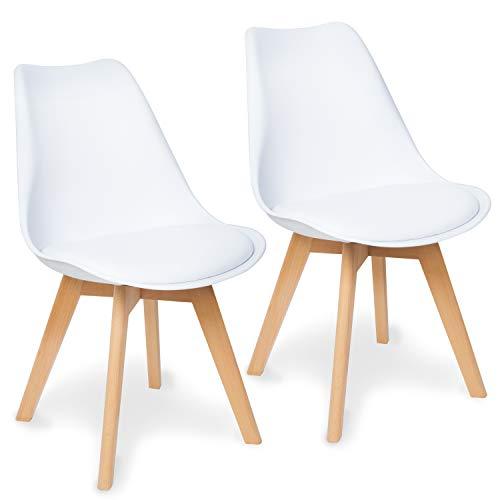 WONEA - Esszimmerstuhl Stuhl mit Holzbeinen 2er Set, leicht zu reinigen, Küchenstuhl Holz, Massivholz, Esstischstuhl (Weiß - Kunststoff, 2 Stühle)