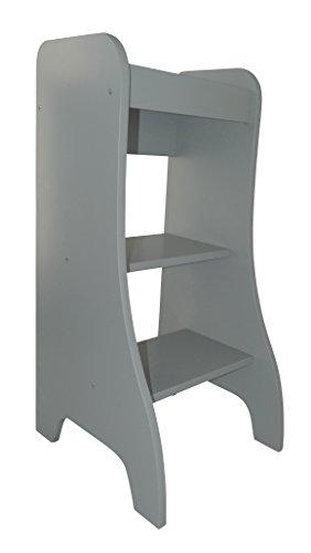 Puckdaddy Entdeckerturm Turmine - 43x50x94 cm, Kinder-Hochstand aus Holz in Grau, praktischer Küchenhelfer für Kinder, Kinderhochstuhl als Tritthocker & Lernturm für Kleinkinder von 1-4 Jahre