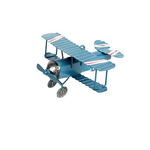 Vintage dubbeldekker Model Mini beeldjes voor Home Decor metalen ijzer vliegtuig vliegtuig vliegtuigen kinderkamer opknoping Decor Kids Gift, blauw