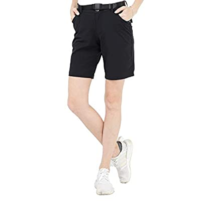 MIER Women's Quick Dry Hiking Shorts Stretchy Shorts with 5 Pockets,Black,M