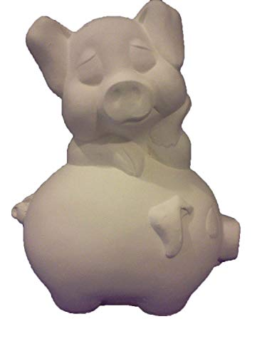 "Piggyback Pig 9"" Ceramic Bisque Ready to Paint"