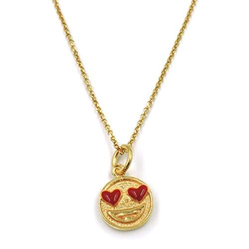 Collar con colgante de emoticon con ojos de corazón en plata de ley 925 chapada en oro