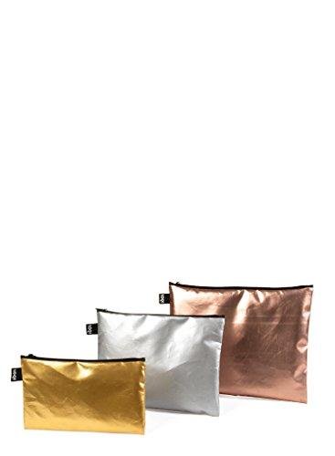 LOQI LOQI Metallic Matt Gold, Silver, Rose Gold Zip-Etuis Monedero, 32 cm, (Matt Gold)