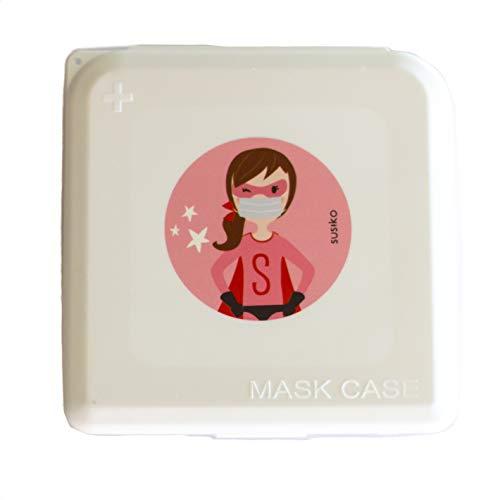 SUSIKO | Porta Mascarillas para Niñas Responsables | Medidas 13 x 13 x 1,3 cm | Caja Rígida Hermética con Cierre a Presión para Guardar Mascarillas | Funda de Mascarillas | Color Blanco