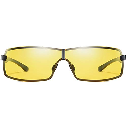 XFSE Gafas de sol de moda de visión nocturna, material de metal, gafas polarizadas, negro/montura de pistola, lentes amarillas, lentes de conducción para hombre, color negro
