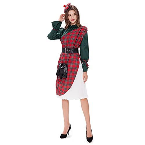 HIZQ Disfraz para Adultos, Falda De Fresa Escocesa De Halloween, Uniforme De Sirvienta De La Mansin Francesa, Adecuado para Vestir Representaciones Teatrales De Fiesta,Rojo,XL