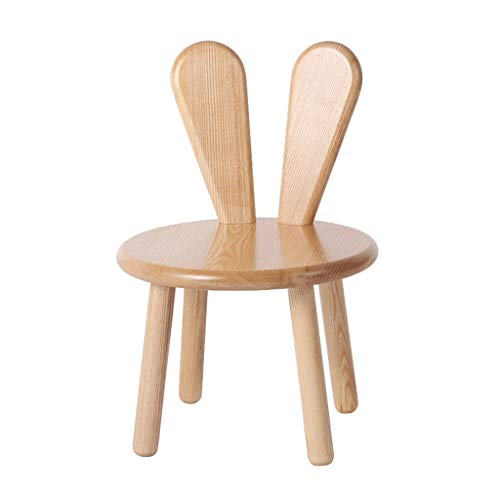 Fauteuils berçants Lapin Oreille Tabouret En Bois Massif Petit Banc Dessin Animé Enfants Apprentissage Chaise Chaise Bébé Diner Chaise (Color : Solid wood, Size : 31 * 31 * 46cm)