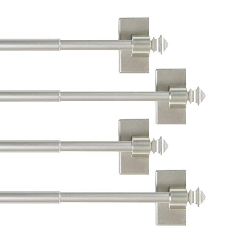 H.VERSAILTEX 4 Pack Magnetic Curtain Rods for Metal Doors Multi-Use Rods for Small Windows Cafe Sidelight and Iron Steel Places, Tool Free with Square Finials (Adjust from 9 to 16 Inch, Nickel)