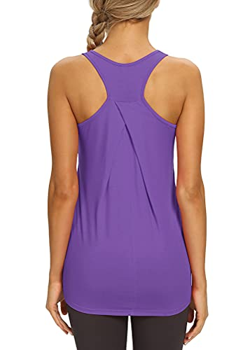 Mippo Workout Tank Tops for Women Yoga Tennis Shirts Long Tunic Workout Tops Cute Gym Clothes High Neck Racerback Tank Tops Violet Purple XL