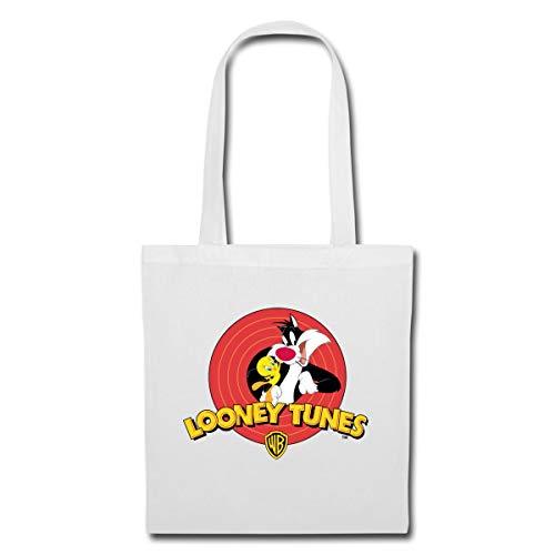 Spreadshirt Looney Tunes Sylvester Und Tweety Stoffbeutel, Weiß