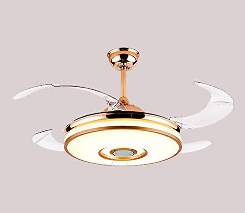GRFD Candelabro Ventilador Invisible Candelabro Control Remoto Bluetooth Audio Inversor LED Candelabro Uso Sala de Estar Dormitorio Comedor