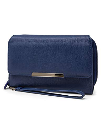 MUNDI Big Fat cartera con bloqueo RFID para mujer, Azul (Azul marino), Large