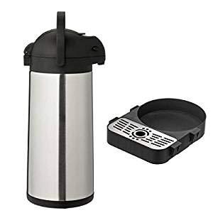 METRO Professional Airpot Pumpkanne | Isolierkanne | Thermoskanne | Getränkespender | auch für den gewerblichen Einsatz | Edelstahl | Kaffeekanne (3 Liter + Tropfschale)