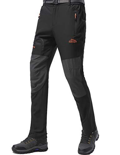 DAFENP Pantalones Trekking Hombre Impermeable Pantalones de Escalada Senderismo Alpinismo Ligero Secado Rápido Transpirable Aire Libre KZ1716M-Black2-L