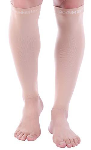 Doc Miller Calf Compression Sleeve - 1 Pair 15-20mmHg Fashionable Medical Grade Socks for Travel DVT Surgery Recovery Maternity Shin Splints Varicose Veins for Men & Women (Skin/Nude, Small)