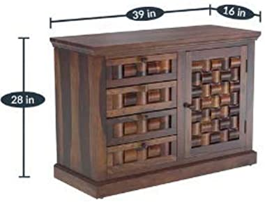 Shilpi Handmade Attractive Look Tails Decor Design Home Unit Cabinet in Pure Sheesham Wood