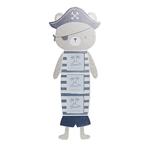 Home and Mas meervoudige fotolijst voor kinderen van hout design beertje piraat blauw 16 x 1 x 42 6,5 cm