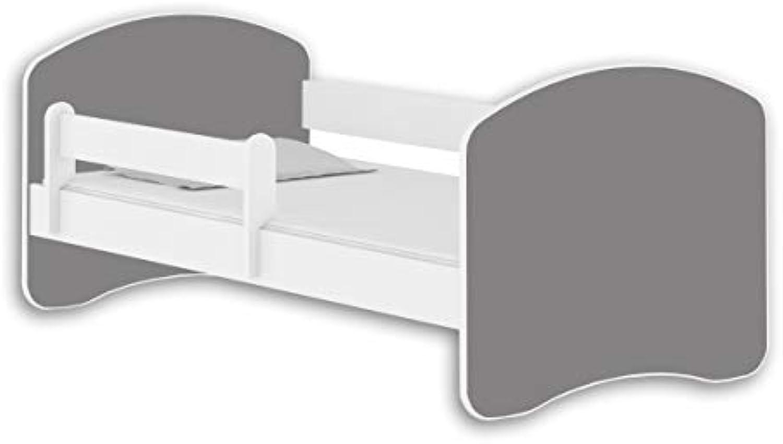 Jugendbett Kinderbett mit einer Schublade mit Rausfallschutz und Matratze Wei ACMA II 140 160 180 (160x80 cm, Wei - Grau)