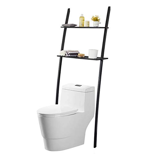 Toilettenregal Waschmaschinenregal platzsparendes Badregal aus Bambus, Bad WC Regal Lagerregal mit 2 Ablagen -173x66x25 cm