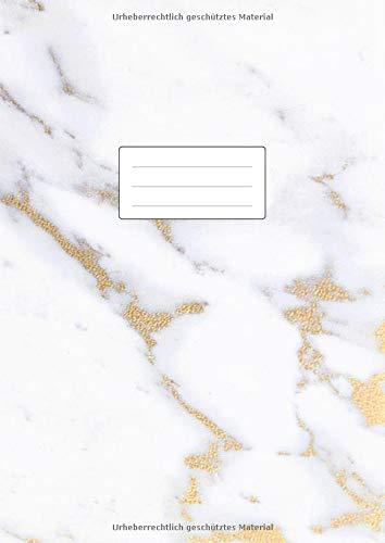 Notizbuch A4 - Liniert und ohne Rand: 100 linierte Seiten   Lineatur 21 Notizheft   Softcover Matt   Perfekt als Tagebuch, Schulheft, Collegeblock, Journal, Kladde, Heft für Notizen   Marmor & Gold
