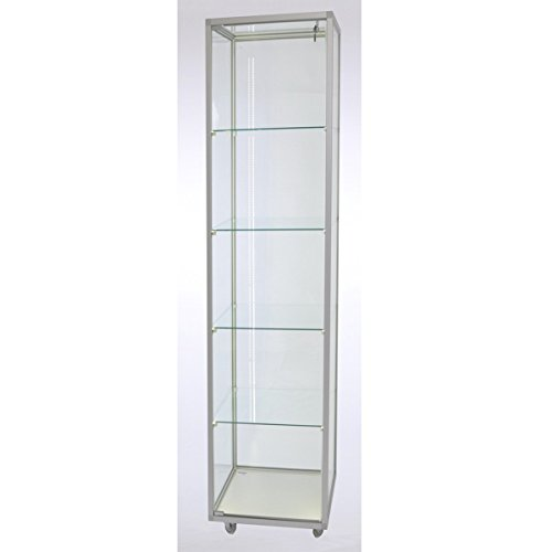 Staande vitrinekast glas met LED-verlichting CVL417 met LED-stripverlichting met slot op poten