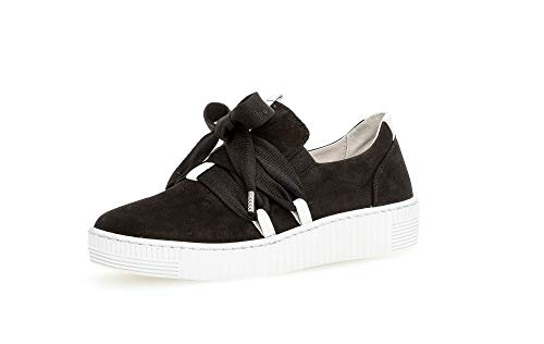 Gabor Damen Sneaker, Frauen Low-Top Sneaker,Optifit- Wechselfußbett, Plateau-Sohle Frauen weibliche Ladies,schwarz/Weiss,38.5 EU / 5.5 UK