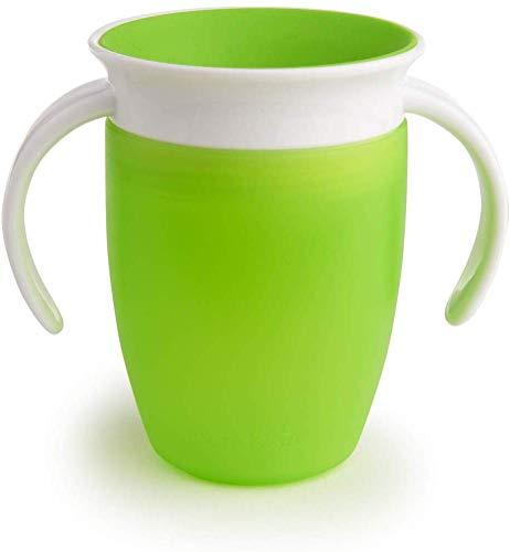 Munchkin Miracle 360° Vaso de Entrenamiento con Asas, Verde (Green), 207 ml