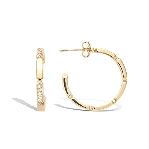 AGVANA Gold Gefüllte CZ Offen Ohrringe Cubic Zirkonia Bambus Kleine Creolen Modeschmuck Geschenk für Frauen Damen