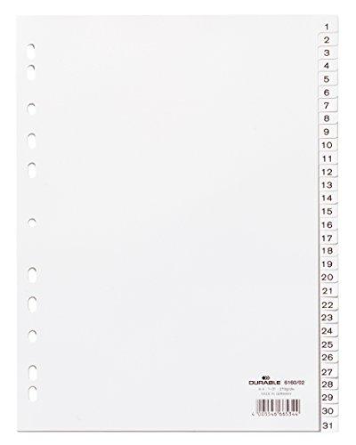 Durable 616002 - Índice de Números (PP, A4 Retrato, Lengüetas en Relieve 1-31, Totalmente Opaco, Perforación Universal) 1 Pieza, Blanco 🔥