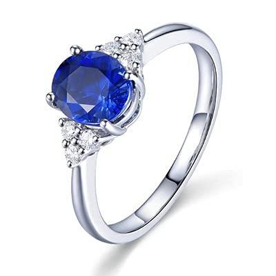 Bishilin Anillo de Oro Blanco 750 Reales, Oval Zafiro 0.41ct Diamante Anillo de Fiesta de Cena Alianzas de Boda Regalos para Cumpleaños Fiesta de Navidad Azul Plateadotamaño: 11