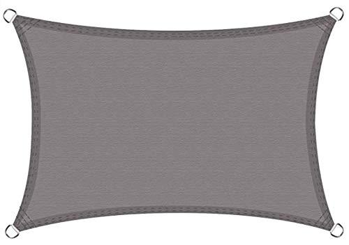 Levesolls Toldo Vela de Sombra Rectangular 4 x 3 m Protección Rayos UV Impermeable Resistente para Patio, Exteriores, Jardín, Color Gris