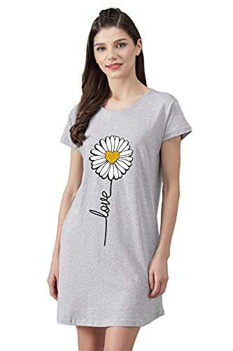 Fflirtygo Long Top Nightwear T-Shirt for Women, Grey Color Long Top with Love Printed Night Dress for Women Soft Cotton Loose Fit