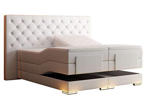 HG Royal Estates GmbH Mailand Chesterfield Boxspringbett elektrisch Weiß Kunstleder Größe 180 x 200 cm