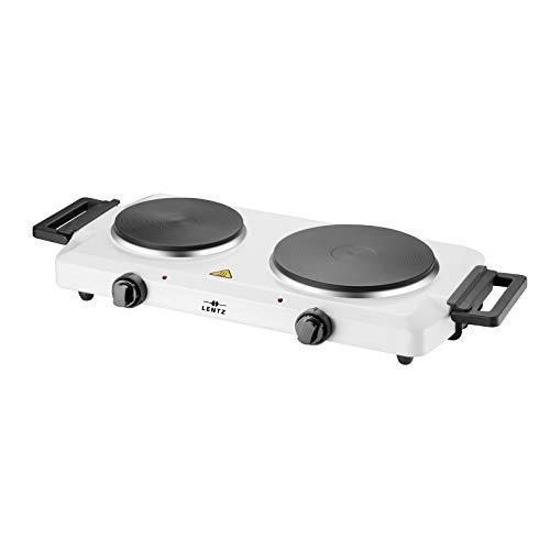 Lentz Doppelkochplatte Doppel Duo Kochplatte 1500 Watt + 1000 Watt | weiß weiss | Kochfeld TÜV geprüfte Markenqualität inkl Haltegriffen