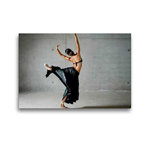 CALVENDO Lienzo, 45 cm x 30 cm, Horizontal, ligereza, Bailarina de Ballet en la Larga Falda Negra, Imagen sobre Bastidor. Lienzo Impreso Sport Sport