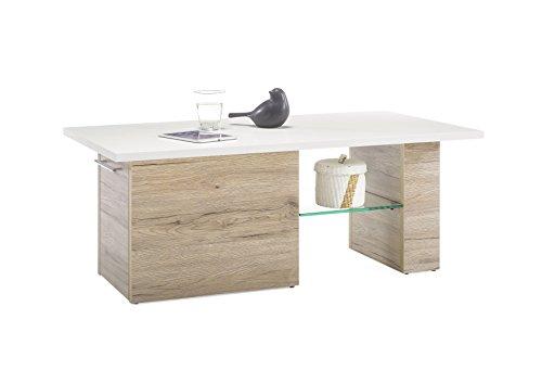 Couchtisch Eiche San Remo hell / Tischplatte weiss mit ausziehbaren Rollwagen