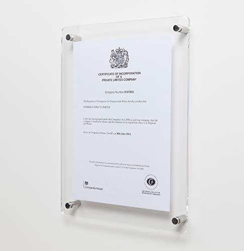 Scribble Bilderrahmen/ Urkundenrahmen, A4, Acryl, zur Wandmontage, durchsichtig (Herstellergröße : 280x358x6mm)