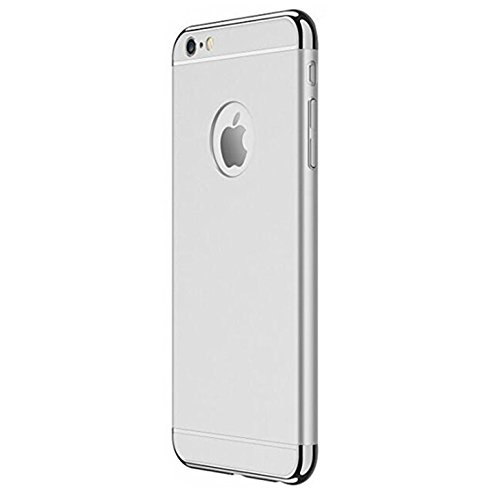 Caler Carcasa rígida para iPhone 6S Plus, PC 3 en 1, color negro, antigolpes, carcasa rígida para iPhone 6 Plus/6S Plus de 5,5 pulgadas (plateada)
